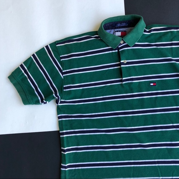 3749de4744c Tommy Hilfiger Shirts | Vintage Green Striped Polo | Poshmark